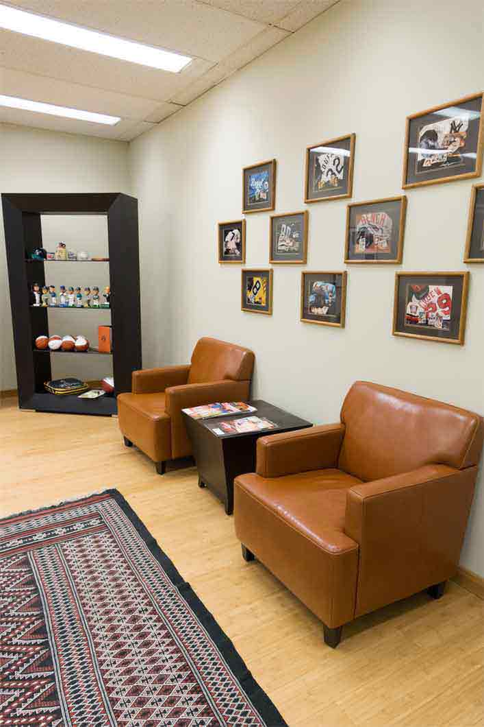 sports memorabilia in waiting room